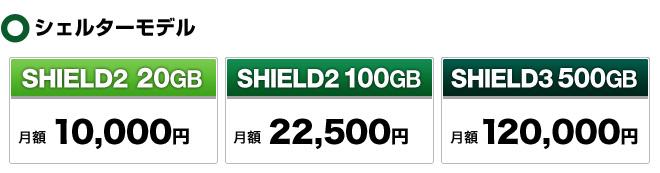 シェルターモデル料金 SHIELD2の100GBが月額23,625円